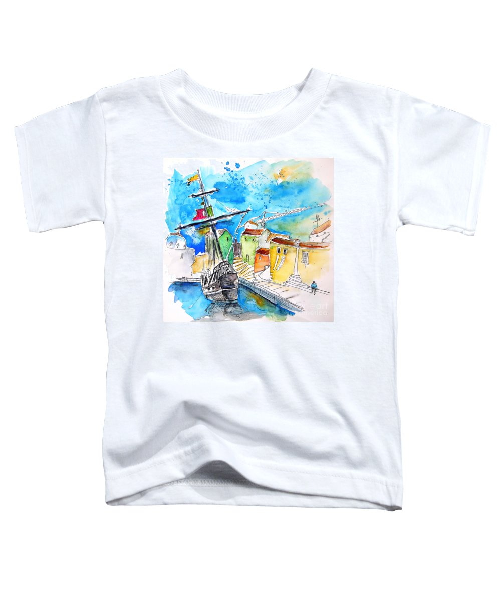 Portugal Toddler T-Shirt featuring the painting Conquistador Boat In Portugal by Miki De Goodaboom