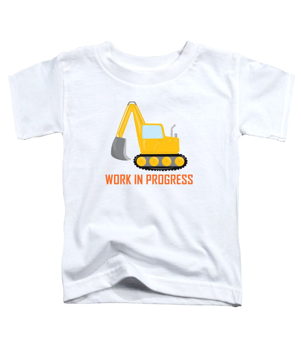 Kids T-Shirt Caution Construction Site Digger Tools Ahead Working Area