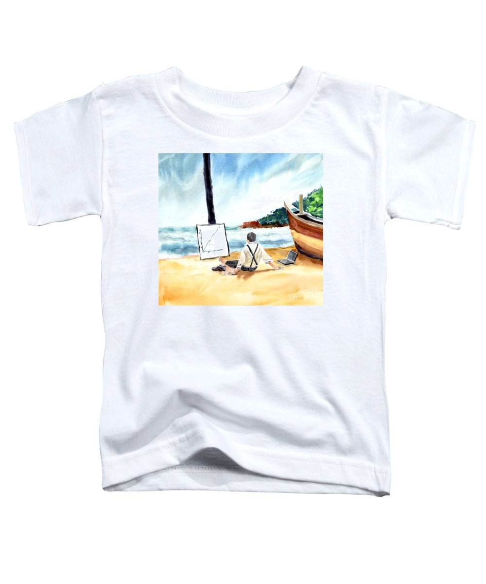 Landscape Toddler T-Shirt featuring the painting Contemplation by Anil Nene