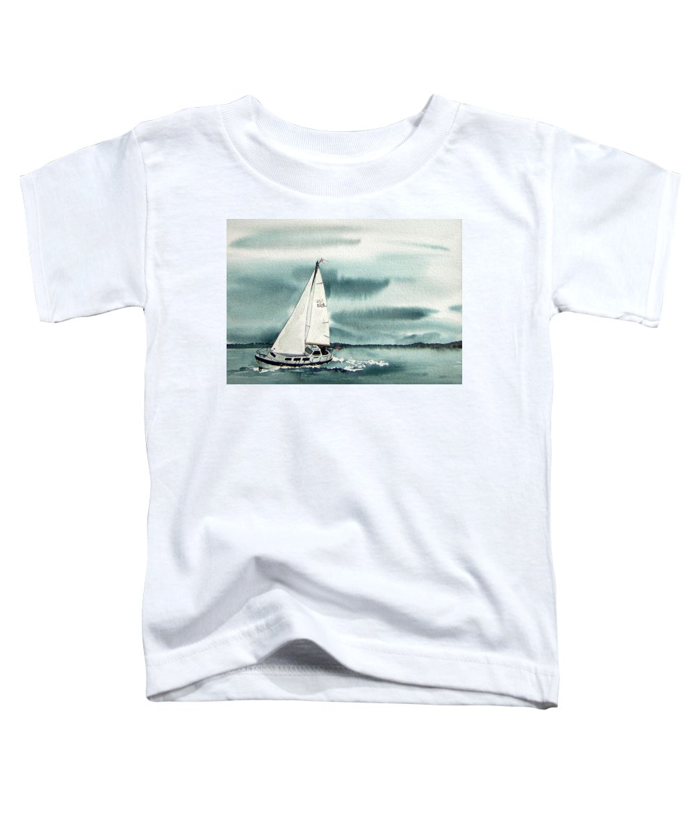 Sailing Toddler T-Shirt featuring the painting Cool Sail by Gale Cochran-Smith