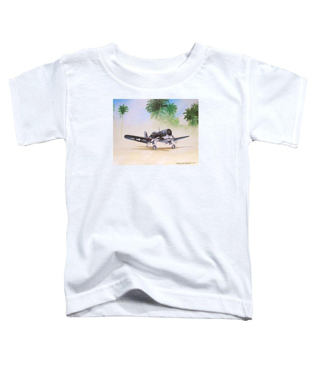 Aviation Toddler T-Shirt featuring the painting Corsair Preflight by Marc Stewart