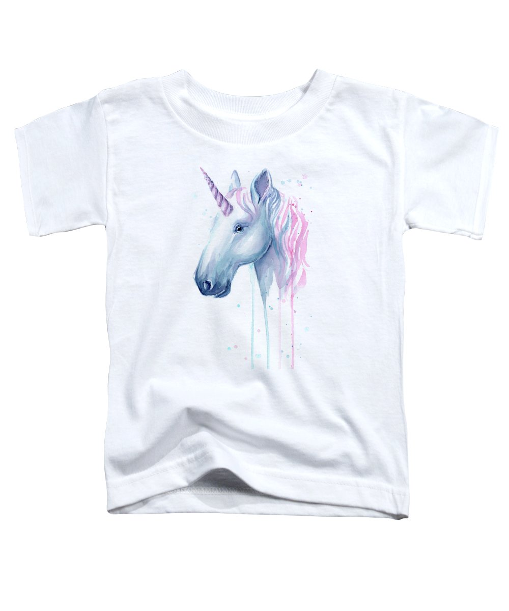 Unicorn Toddler T-Shirt featuring the painting Cotton Candy Unicorn by Olga Shvartsur