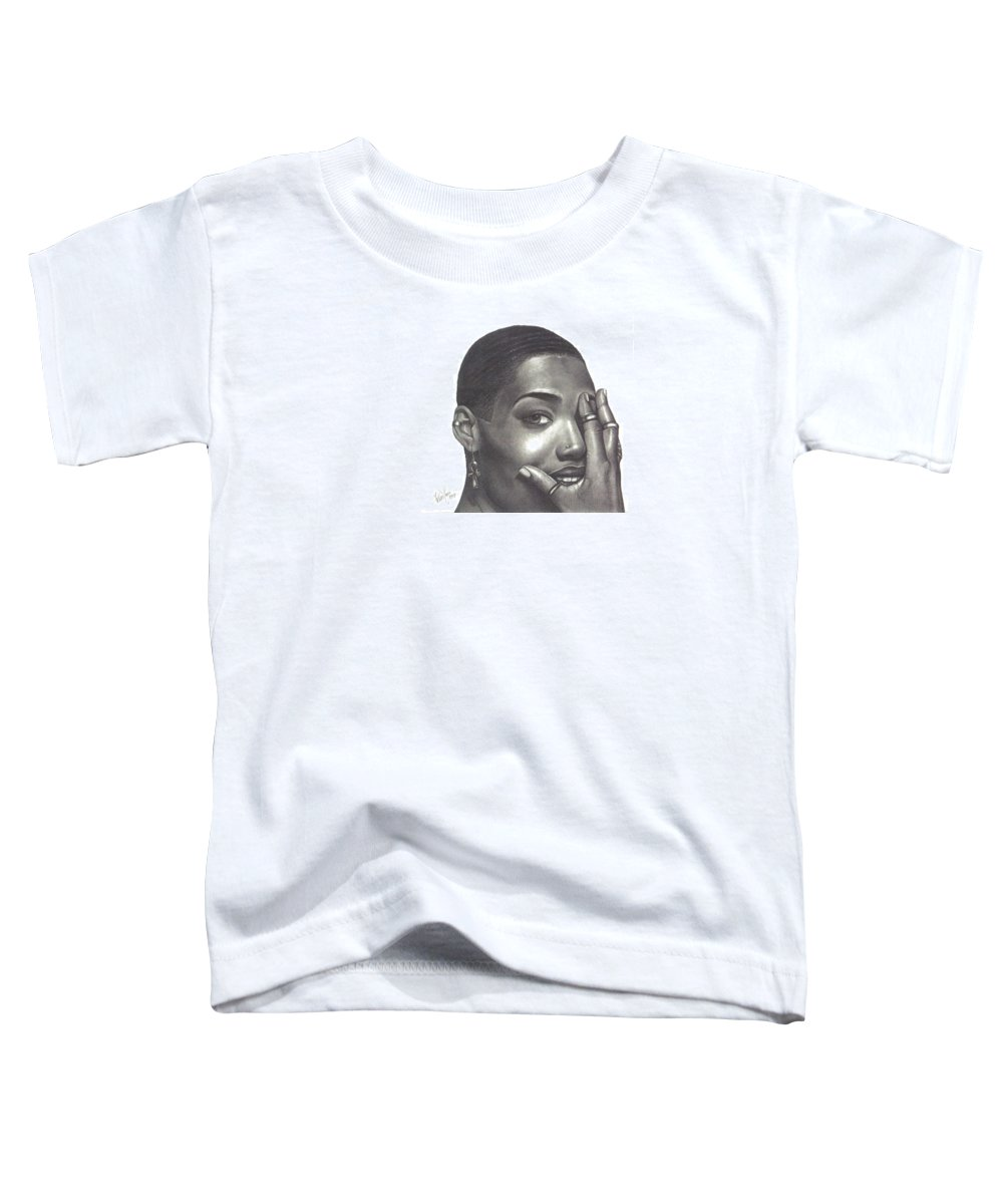 Woman Toddler T-Shirt featuring the drawing Crystal Blaque by Charlene Cooper