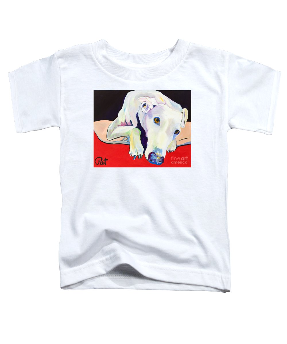 Animals Pets Greyhound Toddler T-Shirt featuring the painting Cyrus by Pat Saunders-White