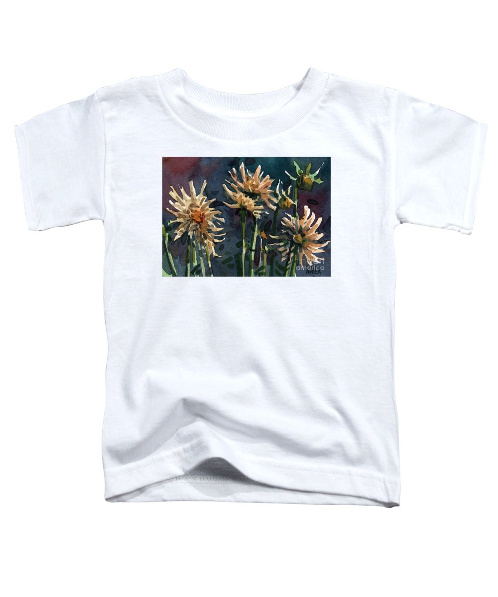 Floral Toddler T-Shirt featuring the painting Dahlias by Donald Maier