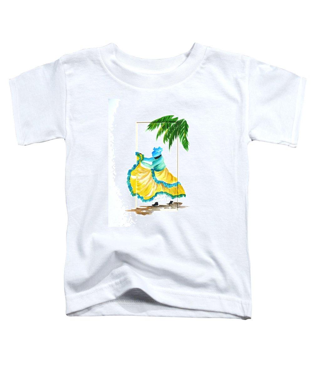 Dance Folk Caribbean Tropical Toddler T-Shirt featuring the painting Dance De Belaire by Karin Dawn Kelshall- Best