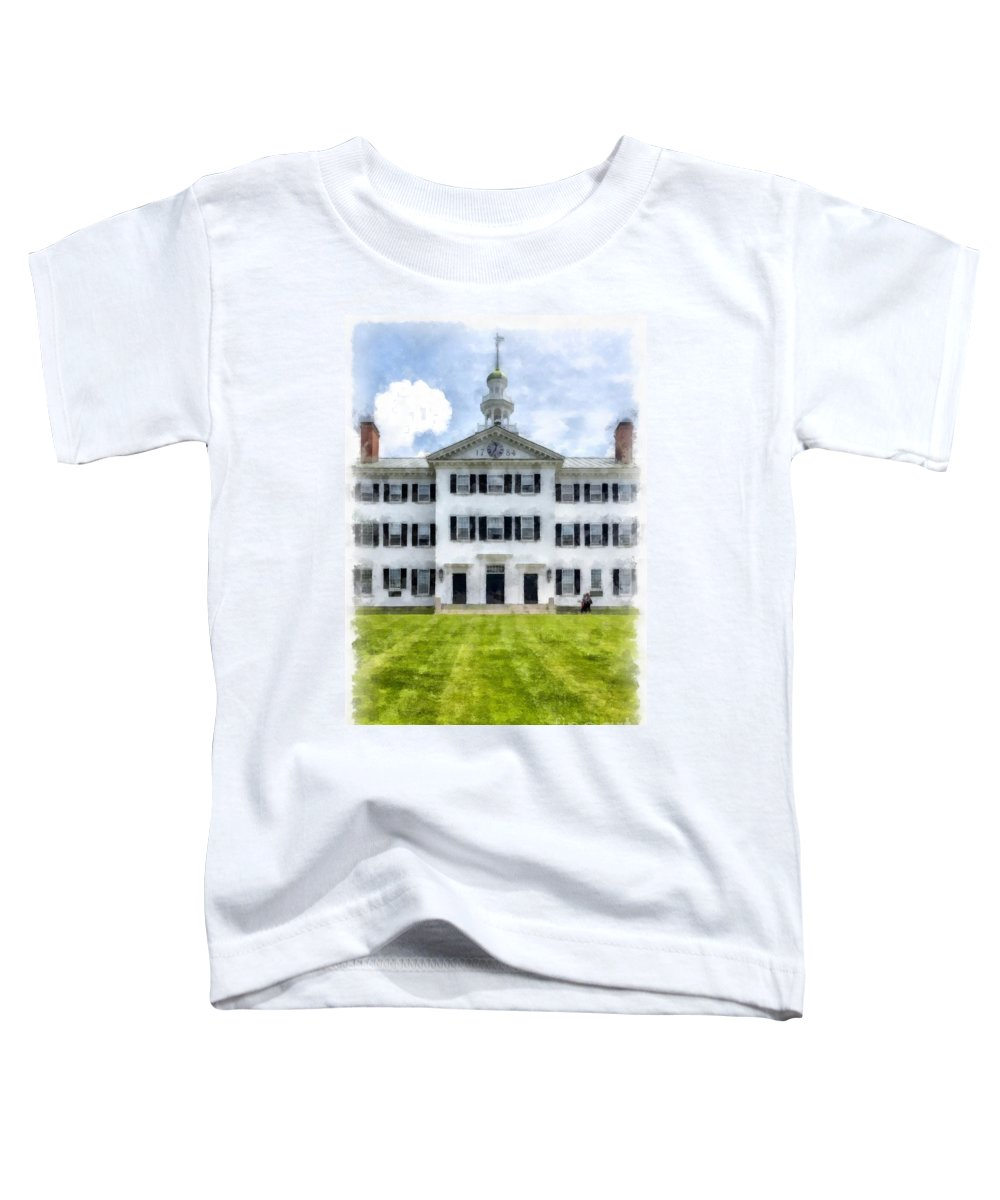 Dartmouth; New Hampshire; University; College; Hanover; Language; Department; Education; School; Learn; Learning; Lvy; League; Summer; Lawn; Tower; Higher; Windows; Building; Green Toddler T-Shirt featuring the painting Dartmouth Hall Dartmouth College by Edward Fielding