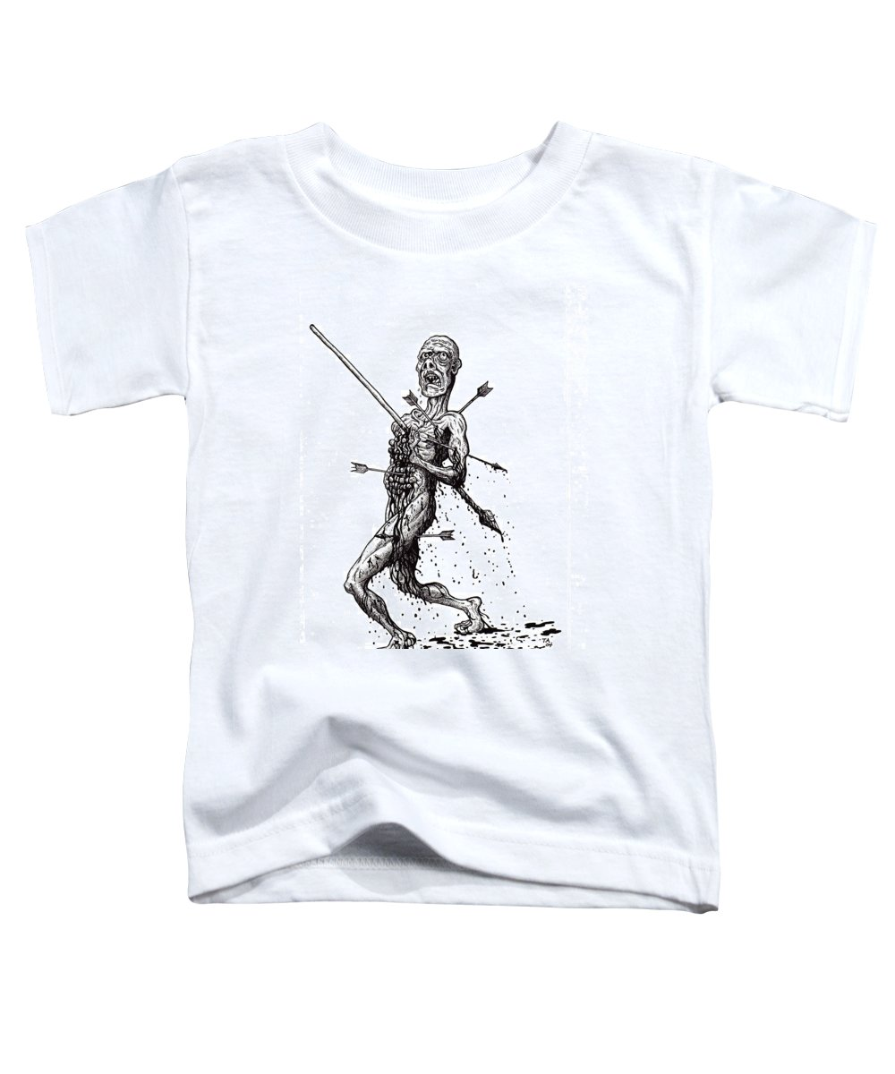 Dark Toddler T-Shirt featuring the drawing Death March by Tobey Anderson