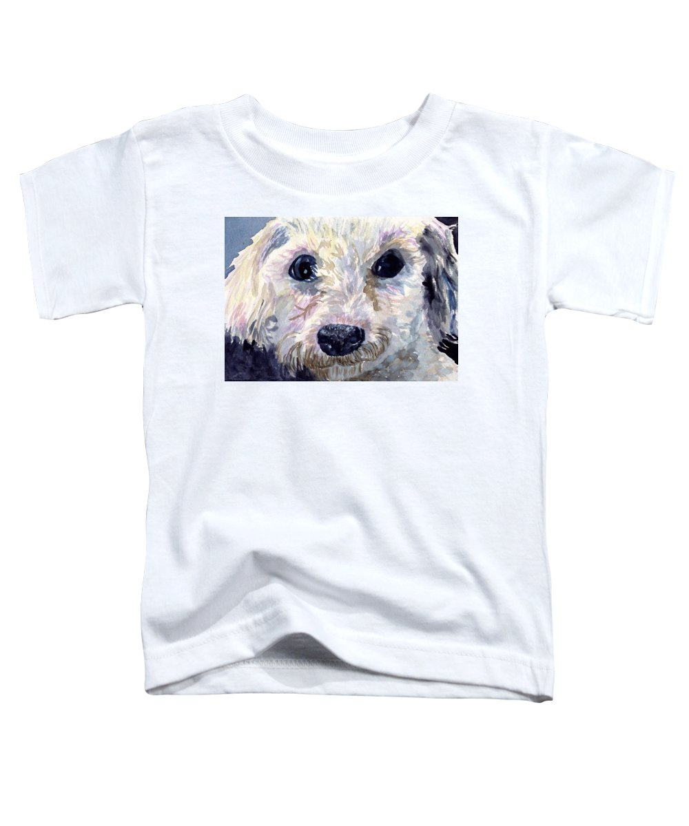Bichon Frise Toddler T-Shirt featuring the painting Did You Say Lunch by Sharon E Allen