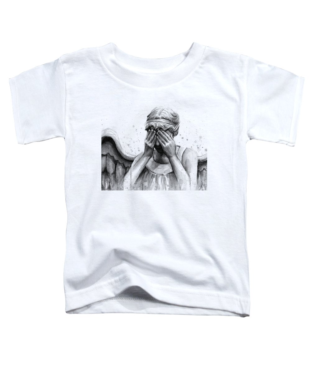 Who Toddler T-Shirt featuring the painting Doctor Who Weeping Angel Don't Blink by Olga Shvartsur