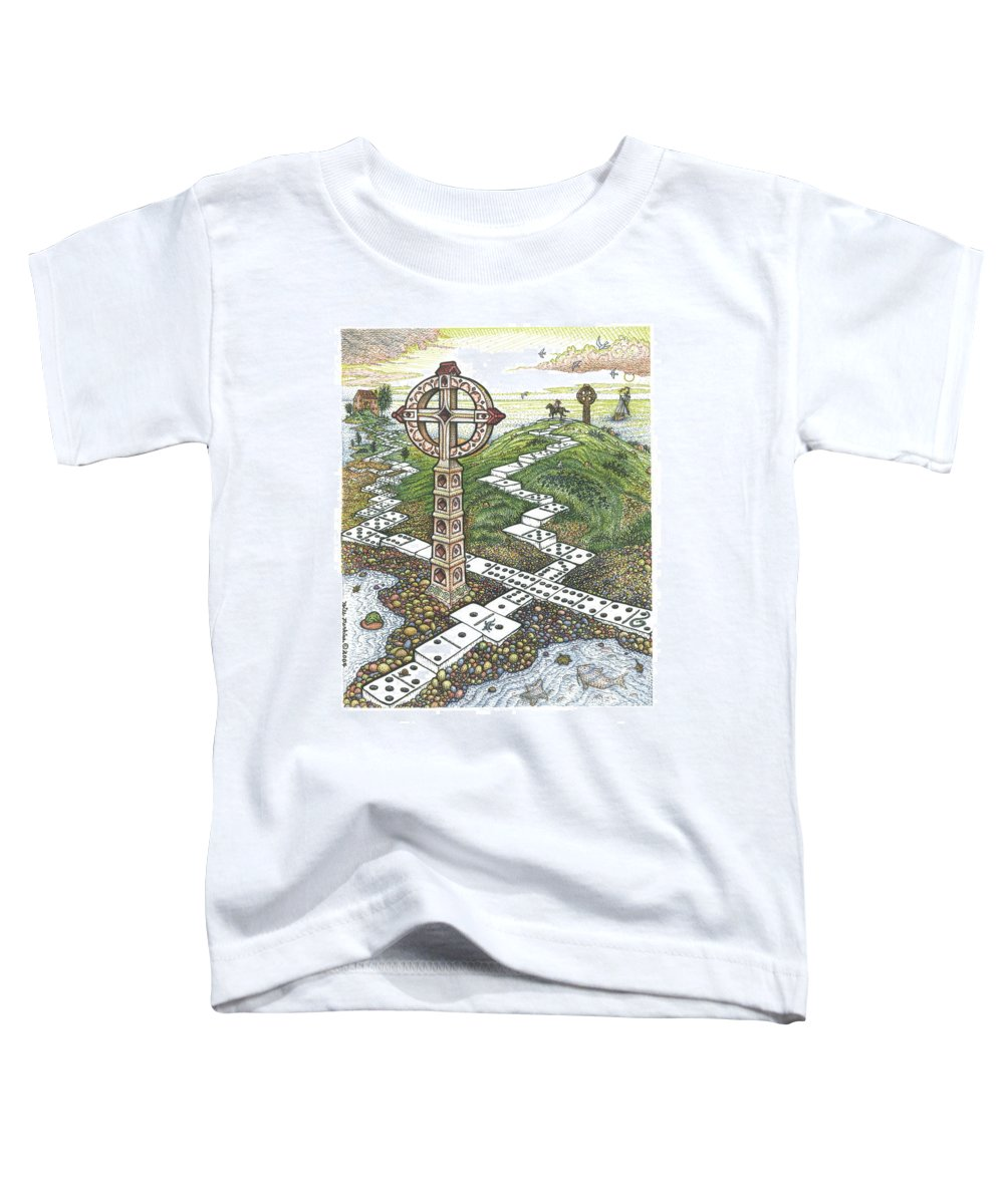 Landscape Toddler T-Shirt featuring the drawing Domino Crosses by Bill Perkins