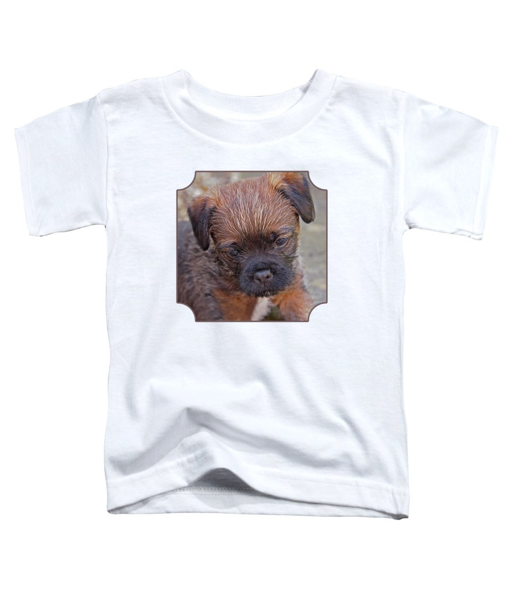Cute Puppy Toddler T-Shirt featuring the photograph Don't Leave Me - Border Terrier Pupppy by Gill Billington