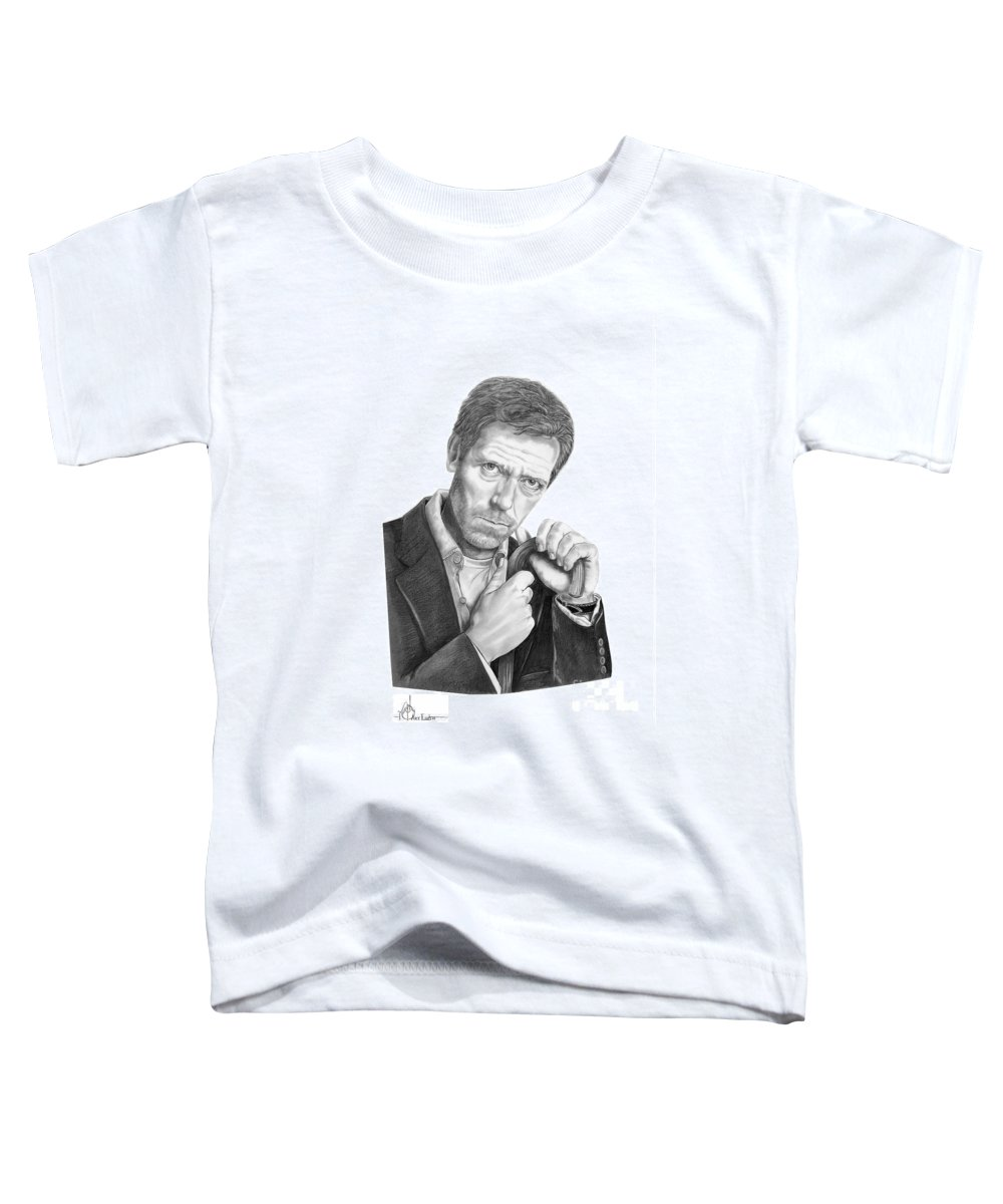 Drawing Toddler T-Shirt featuring the drawing Dr. House Hugh Laurie by Murphy Elliott