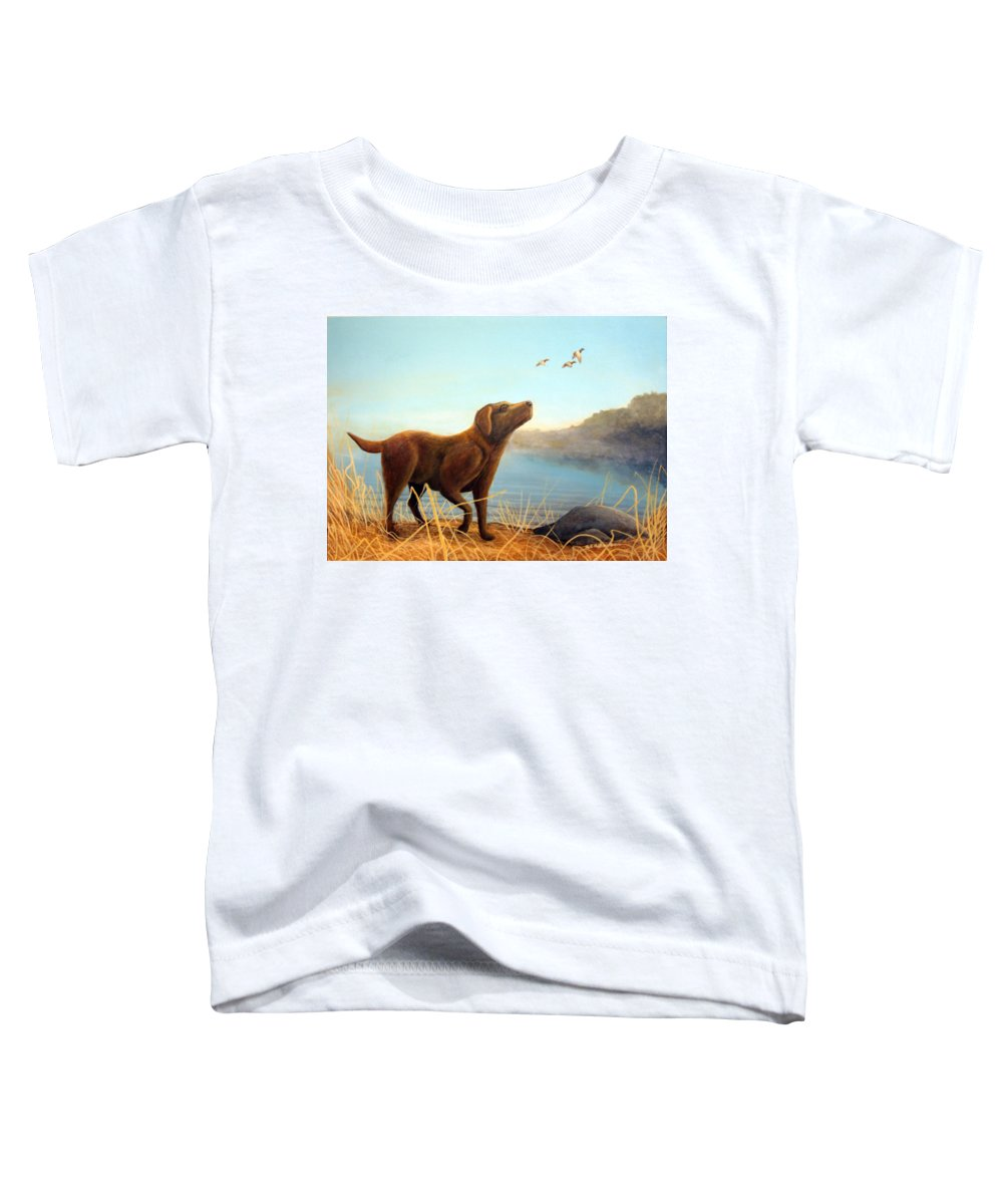 Chocolate Lab Painting Toddler T-Shirt featuring the Dutch by Rick Huotari