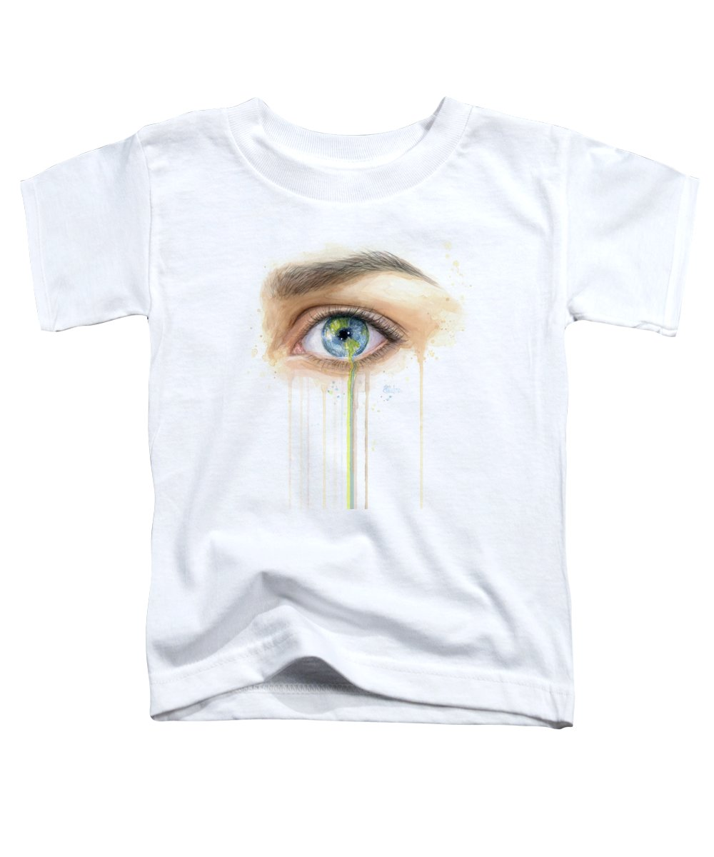 Crying Toddler T-Shirt featuring the painting Earth In The Eye Crying Planet by Olga Shvartsur