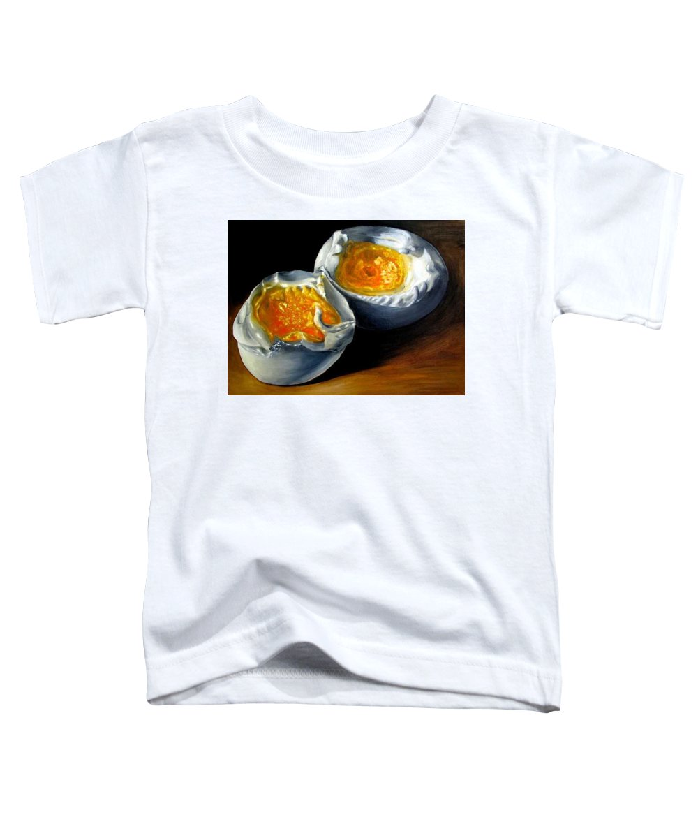 Eggs Toddler T-Shirt featuring the painting Eggs Contemporary Oil Painting On Canvas by Natalja Picugina