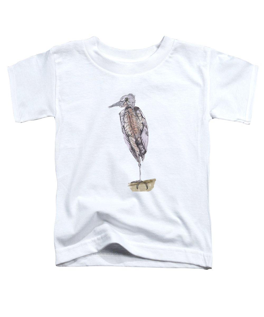 Egret Toddler T-Shirt featuring the mixed media Egret by Lynn Jordan