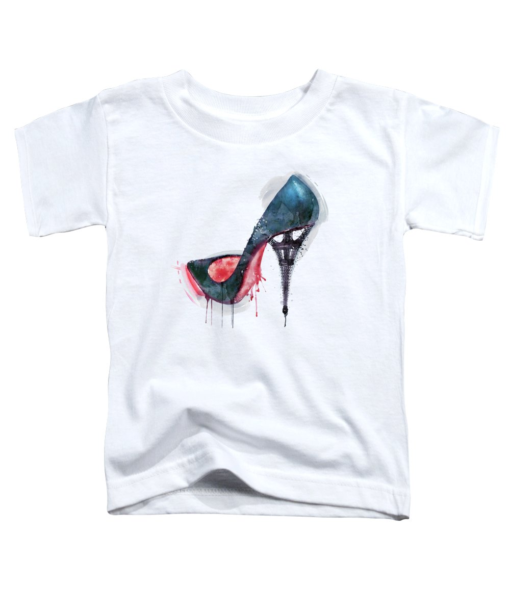 Eiffel Tower Toddler T-Shirt featuring the painting Eiffel Tower Shoe by Marian Voicu
