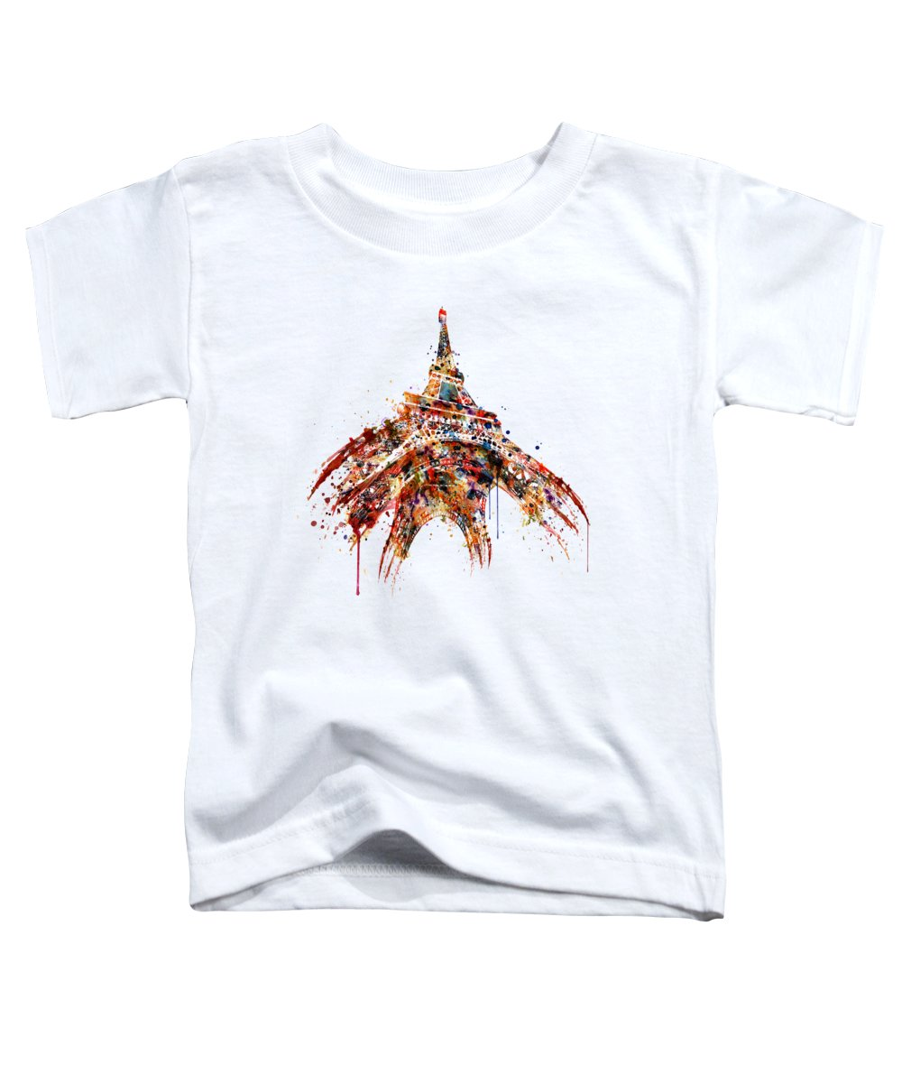 Tour Eiffel Toddler T-Shirt featuring the painting Eiffel Tower Watercolor by Marian Voicu