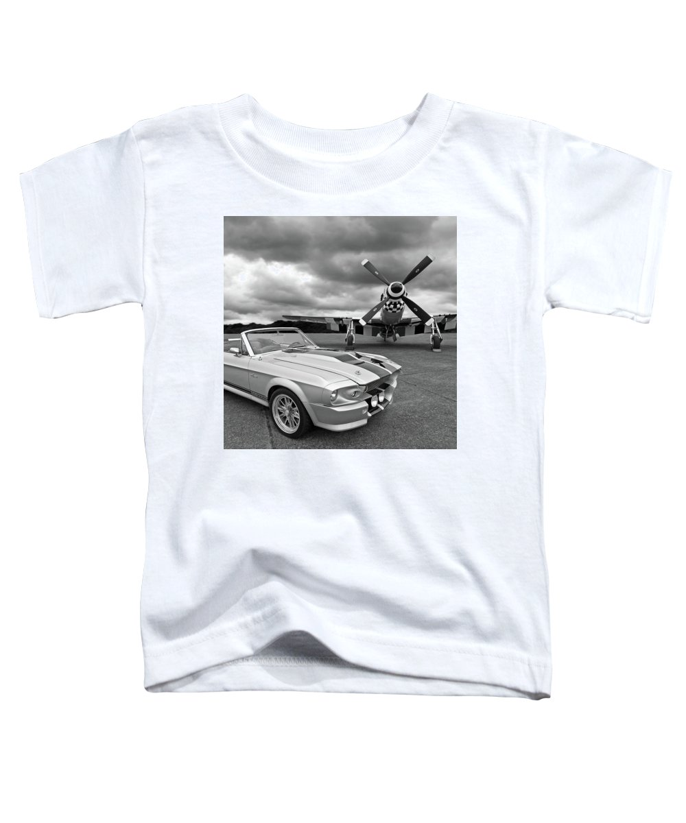 Old Ford Mustang Toddler T-Shirt featuring the photograph Eleanor Mustang With P51 Black And White by Gill Billington
