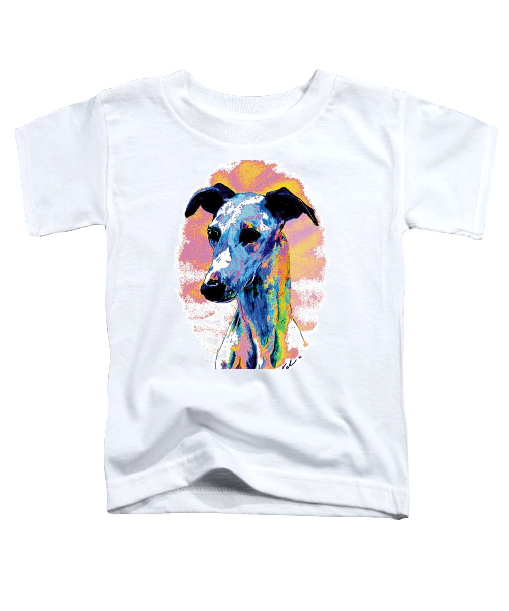 Electric Whippet Toddler T-Shirt featuring the digital art Electric Whippet by Kathleen Sepulveda