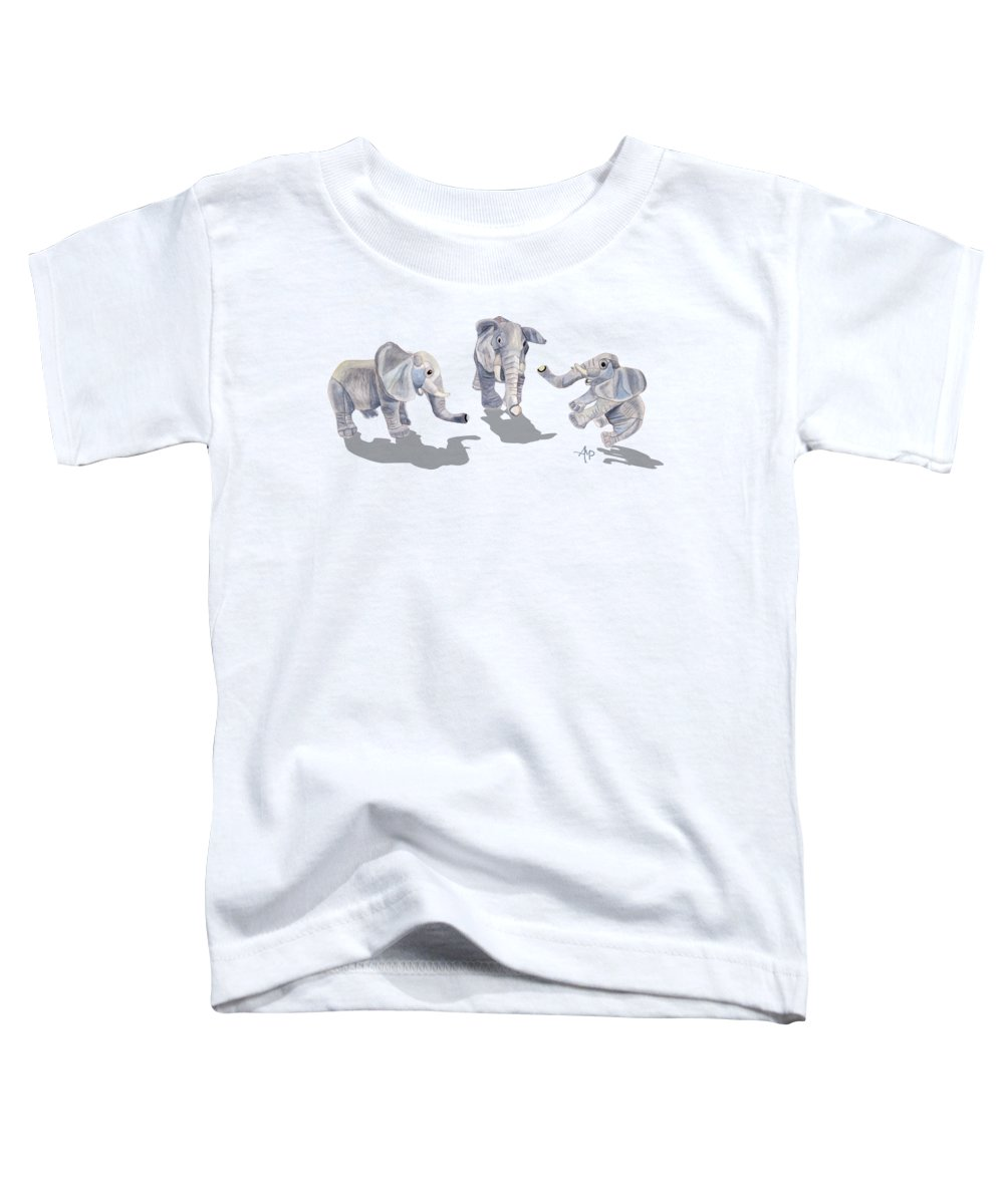 Elephant Toddler T-Shirt featuring the mixed media Elephants by Angeles M Pomata