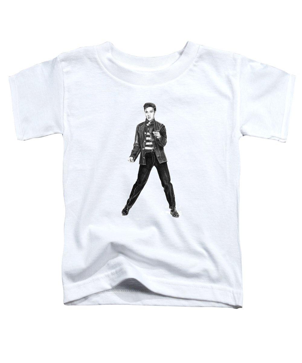 Elvis Toddler T-Shirt featuring the drawing Elvis Presley  by Murphy Elliott