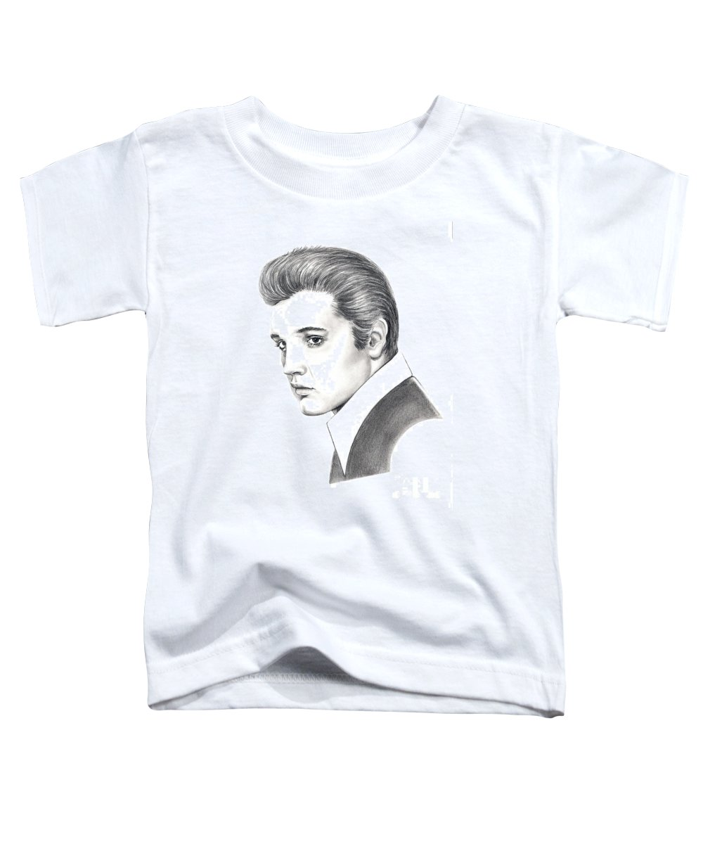 Pencil. Portrait Toddler T-Shirt featuring the drawing Elvis Presley by Murphy Elliott