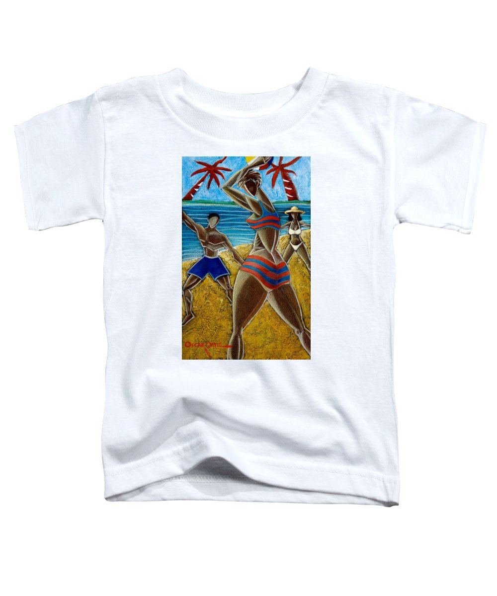 Beach Toddler T-Shirt featuring the painting En Luquillo Se Goza by Oscar Ortiz