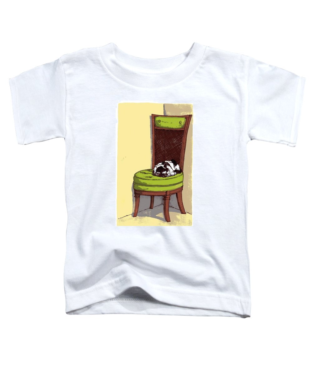 Cat Toddler T-Shirt featuring the drawing Ernie And Green Chair by Tobey Anderson