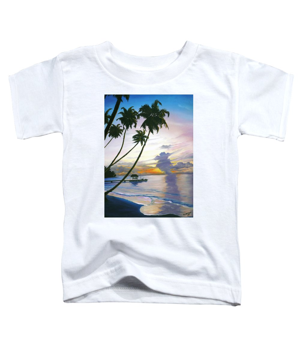 Ocean Painting Seascape Painting Beach Painting Sunset Painting Tropical Painting Tropical Painting Palm Tree Painting Tobago Painting Caribbean Painting Original Oil Of The Sun Setting Over Pigeon Point Tobago Toddler T-Shirt featuring the painting Eventide Tobago by Karin Dawn Kelshall- Best