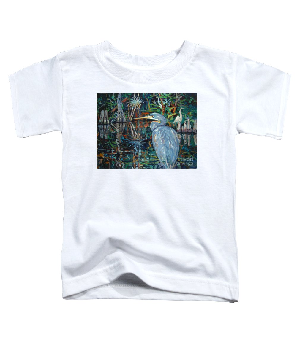 Blue Herron Toddler T-Shirt featuring the painting Everglades by Donald Maier