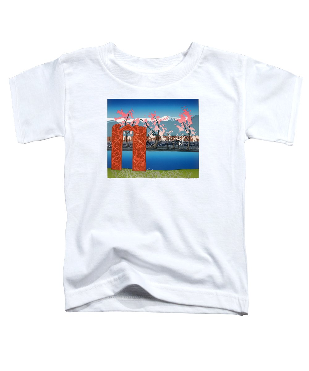 Landscape Toddler T-Shirt featuring the mixed media Exploration. by Jarle Rosseland