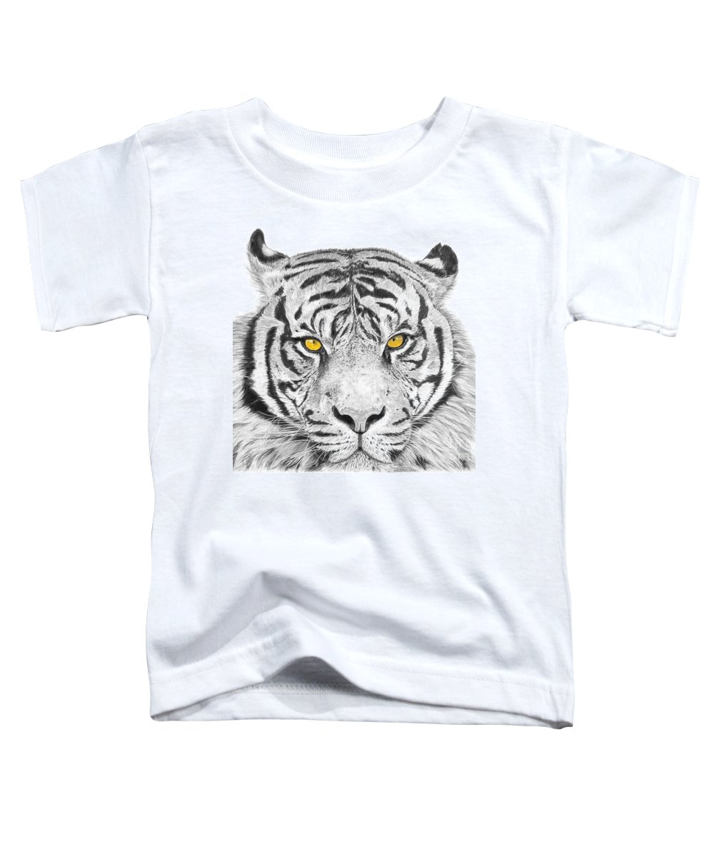 Tiger Toddler T-Shirt featuring the drawing Eyes Of The Tiger by Shawn Stallings