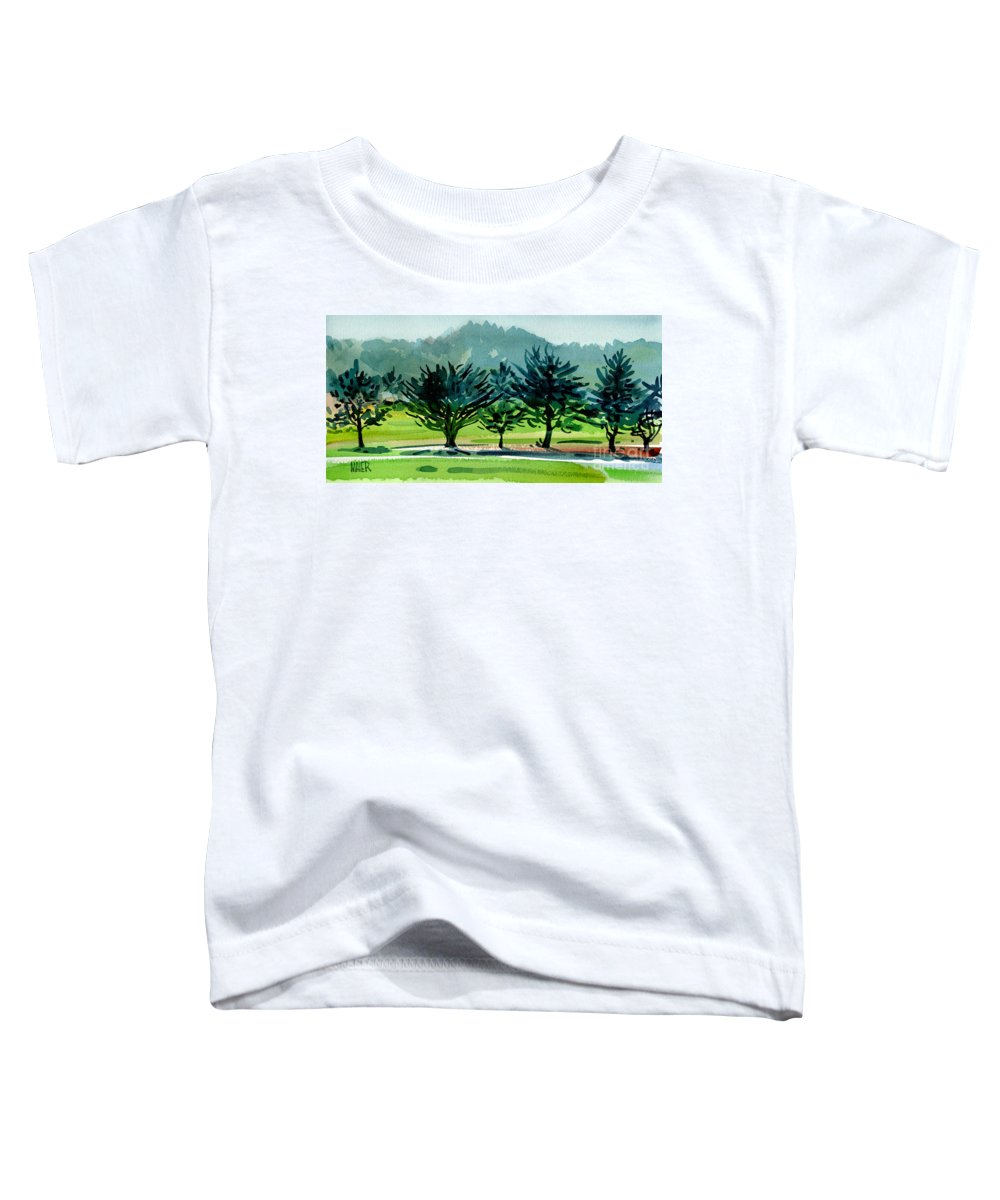 Crystal Springs Toddler T-Shirt featuring the painting Fairway Junipers by Donald Maier