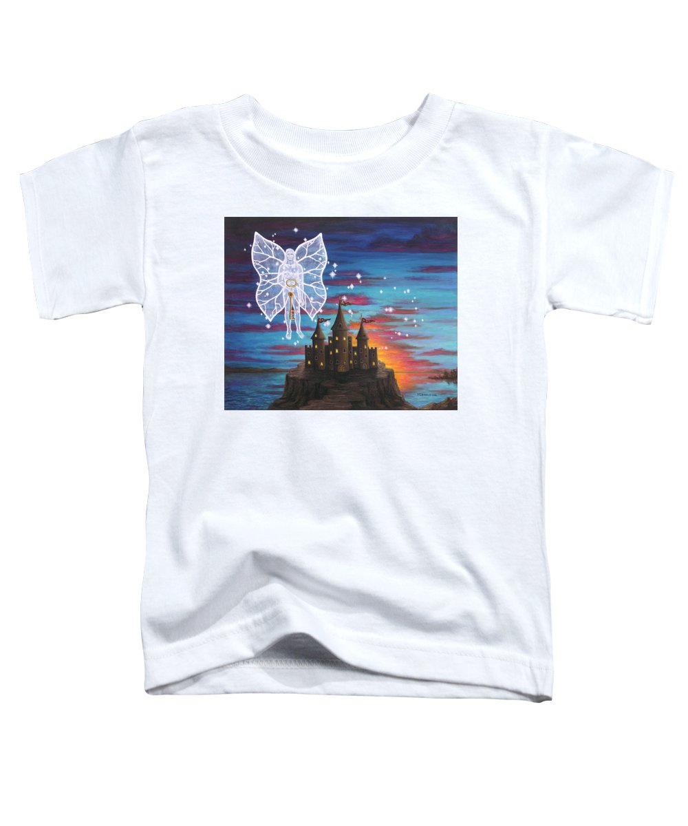 Fantasy Toddler T-Shirt featuring the painting Fairy Takes The Key by Roz Eve