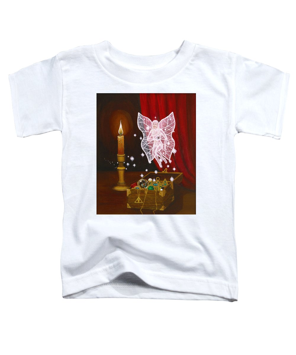 Fairy Toddler T-Shirt featuring the painting Fairy Treasure by Roz Eve