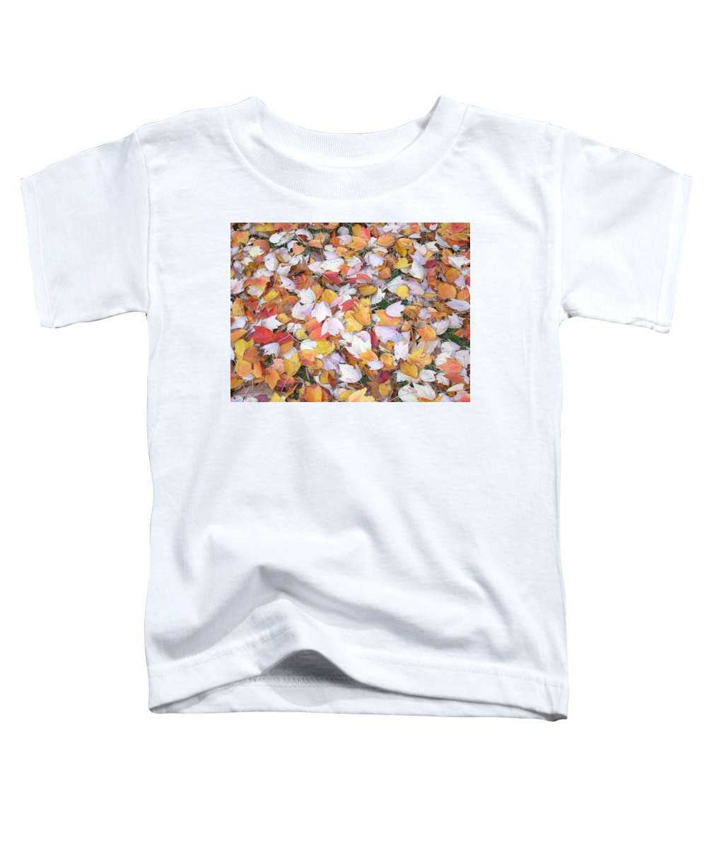 Photography Fall Autum Leaves Toddler T-Shirt featuring the photograph Fallen Fantasy by Karin Dawn Kelshall- Best