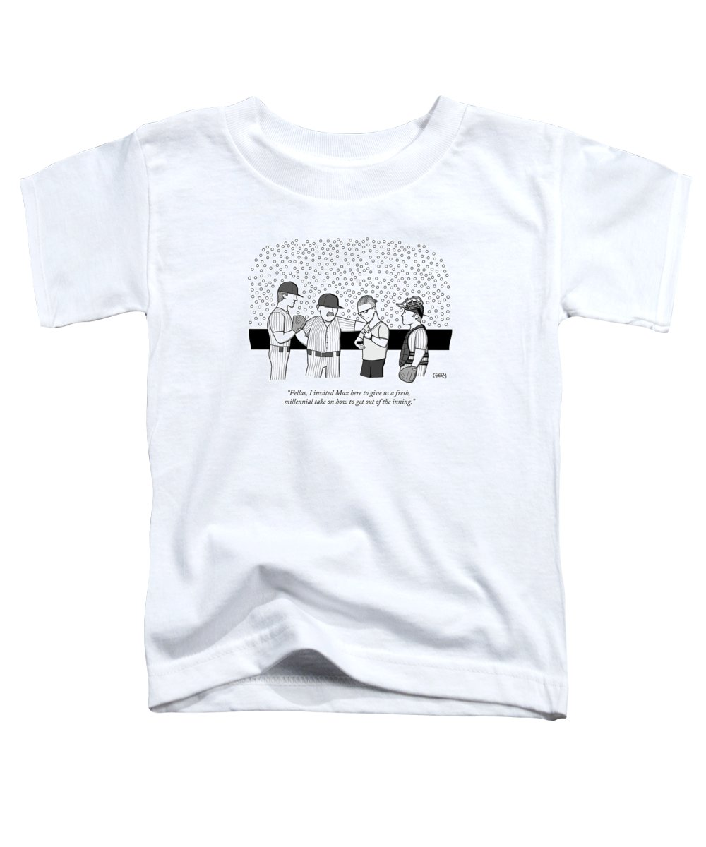 """fellas Toddler T-Shirt featuring the drawing Fellas I invited Max here to give us a fresh millennial take by Tadhg Ferry"