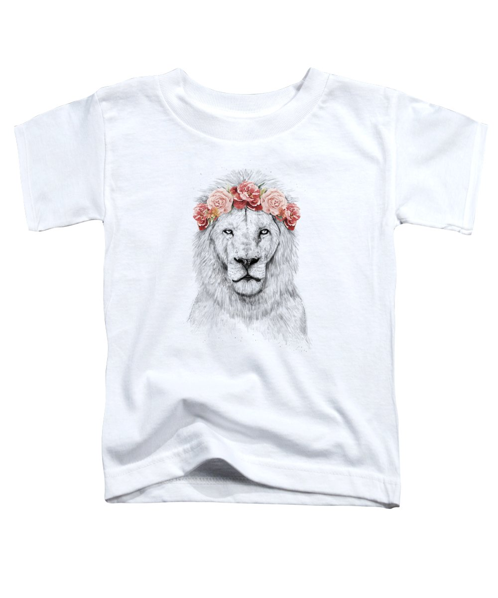 Lion Toddler T-Shirt featuring the drawing Festival lion by Balazs Solti