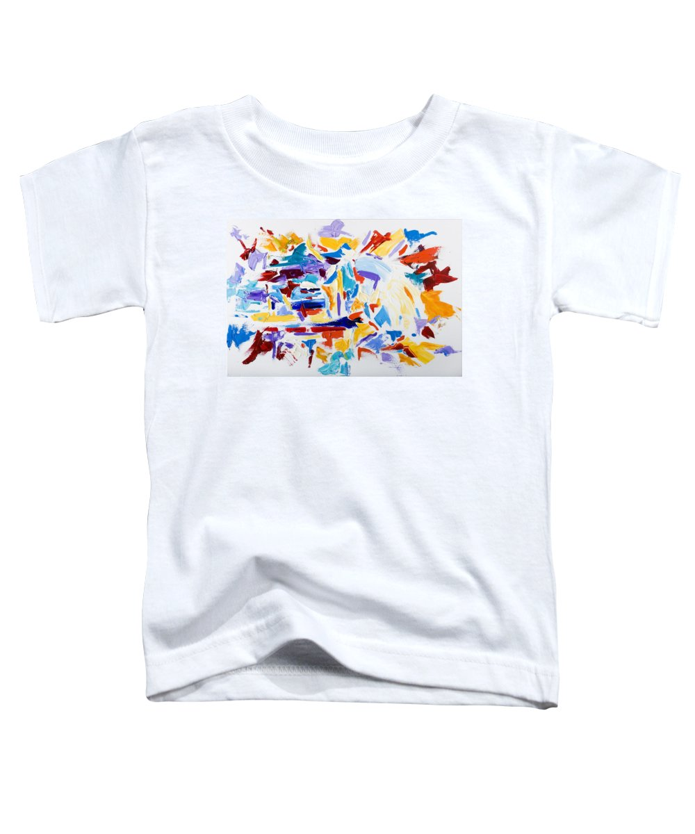 Abstract Yellow Toddler T-Shirt featuring the painting Fiesta by Shannon Grissom