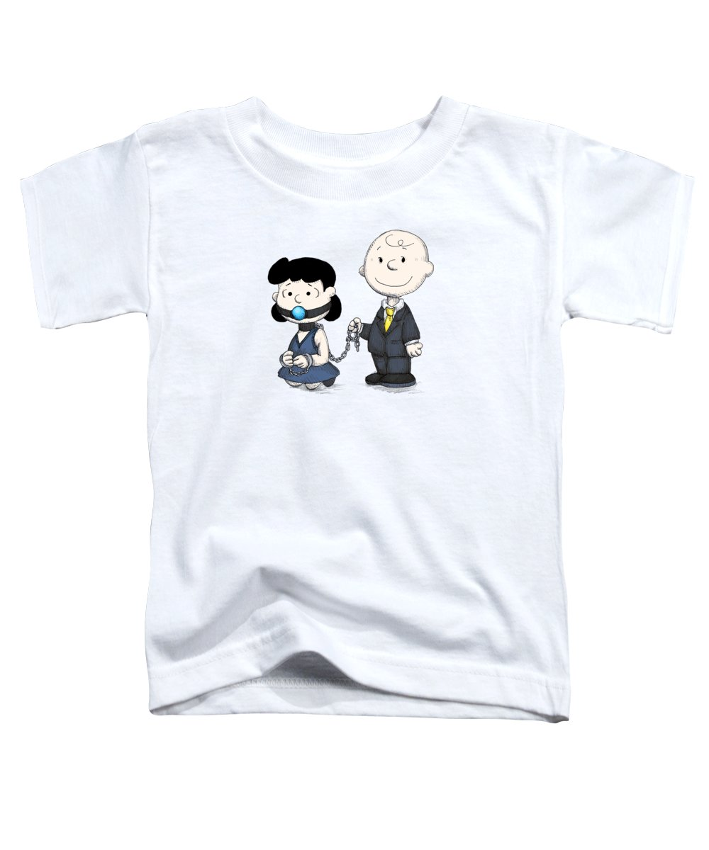 Peanuts Toddler T-Shirt featuring the drawing Fifty Shades Of Brown by Ludwig Van Bacon