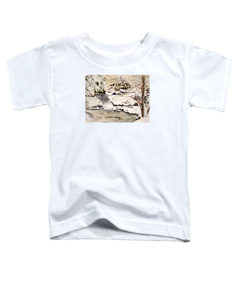 Winter Scene Toddler T-Shirt featuring the painting First Snowfall by Jean Blackmer