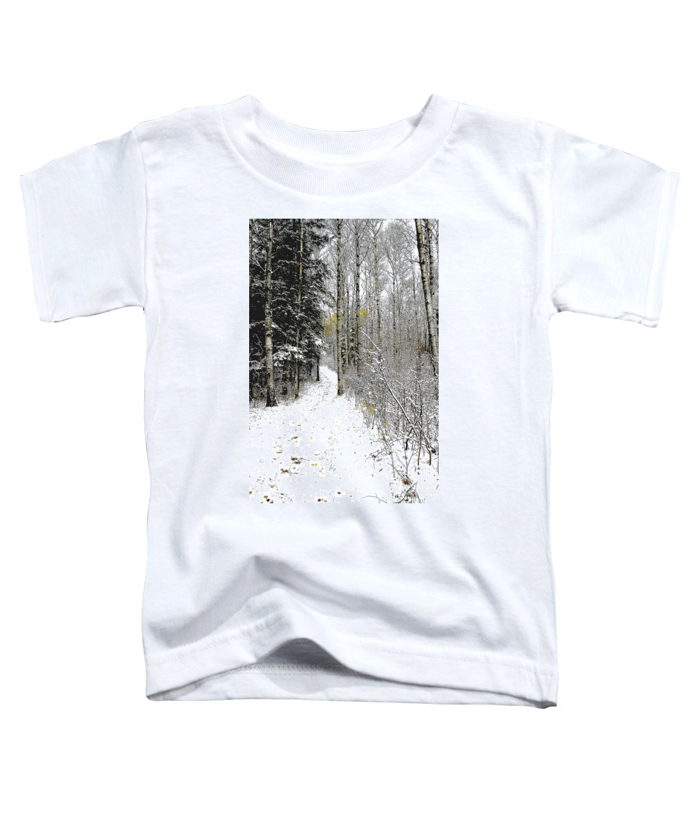 Winter Toddler T-Shirt featuring the photograph First Snowfall by Nelson Strong