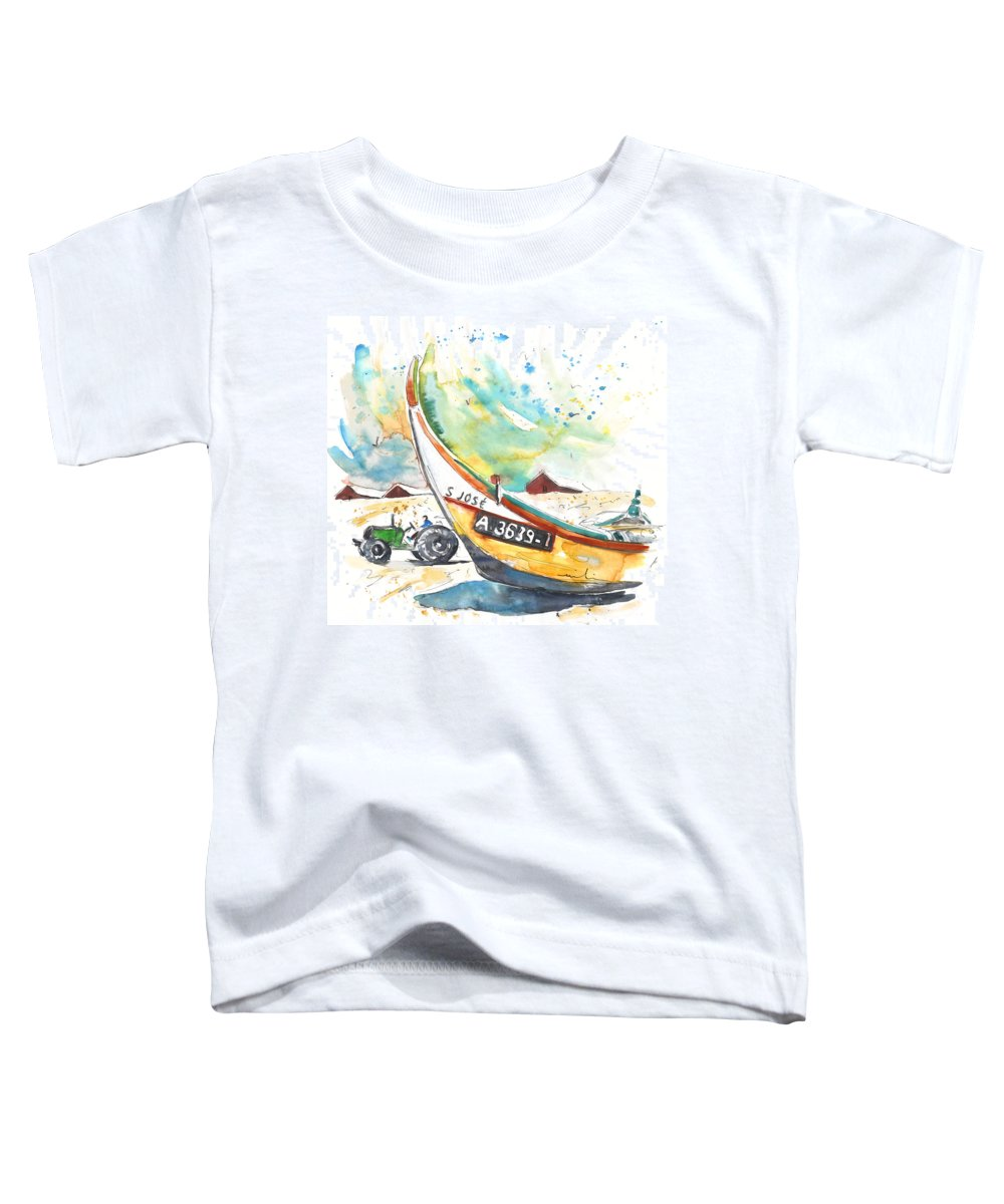 Portugal Toddler T-Shirt featuring the painting Fisherboat In Praia De Mira by Miki De Goodaboom