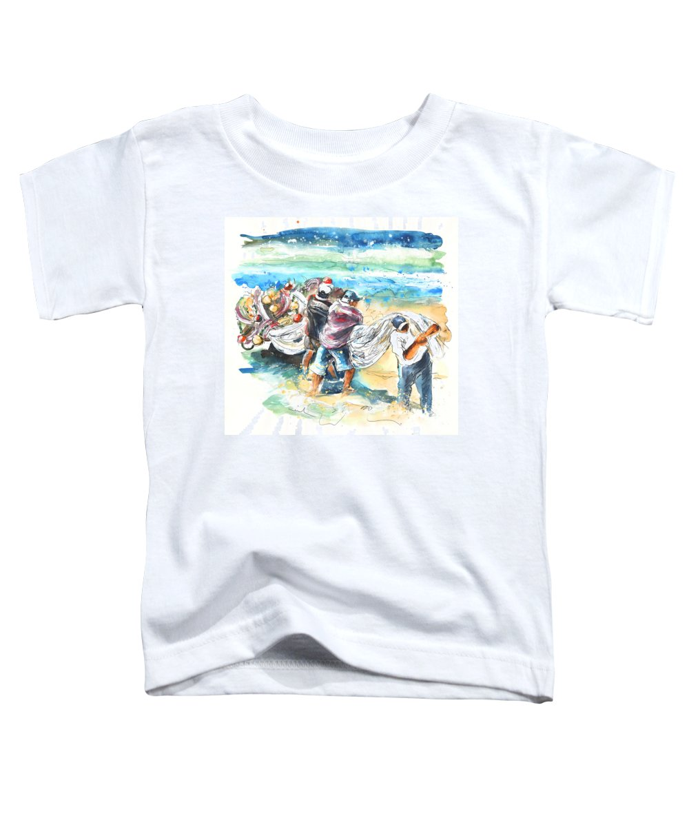 Portugal Toddler T-Shirt featuring the painting Fishermen In Praia De Mira by Miki De Goodaboom
