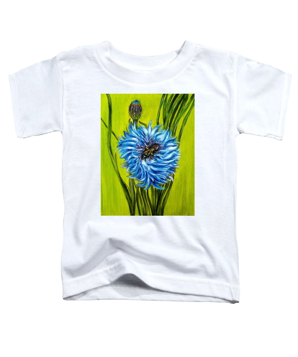Flower Toddler T-Shirt featuring the painting Flower And Bee Oil Painting by Natalja Picugina