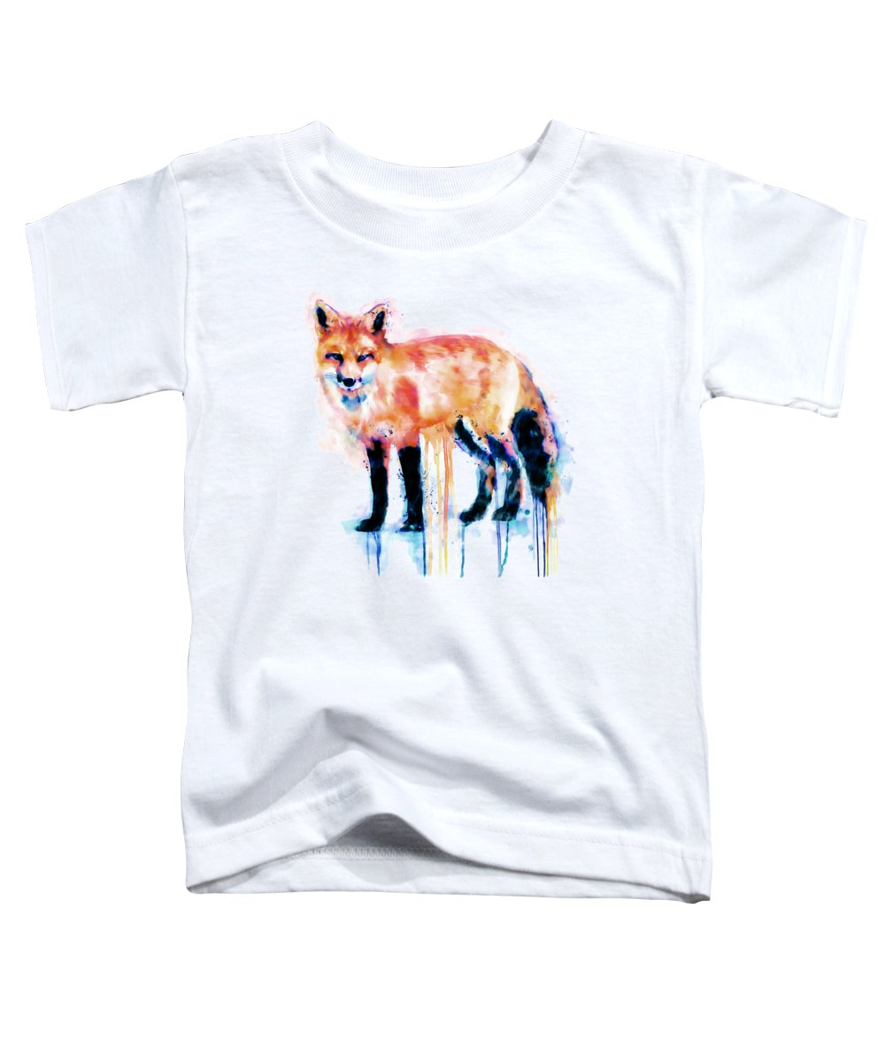 Fox Toddler T-Shirt featuring the painting Fox by Marian Voicu