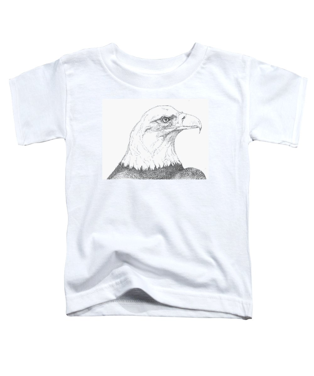Eagle Toddler T-Shirt featuring the drawing Freedom by Debra Sandstrom