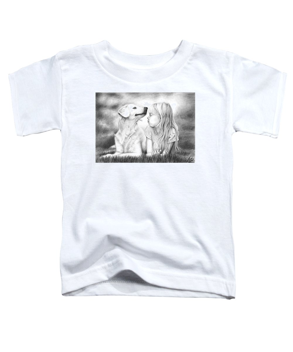 Dog Toddler T-Shirt featuring the drawing Friends by Nicole Zeug